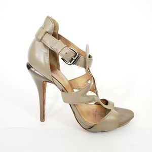 L.A.M.B. Gray Peep Toe Ankle Straps Sandals Heels